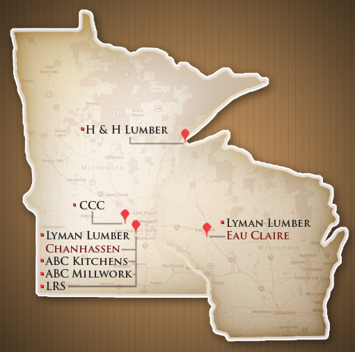 Lymna Lumber Companies Locations Map